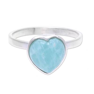 Heart-Shaped Amazonite Cocktail Ring from India