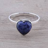 Sodalite cocktail ring, 'Gemstone Heart' - Heart-Shaped Sodalite Cocktail Ring from India