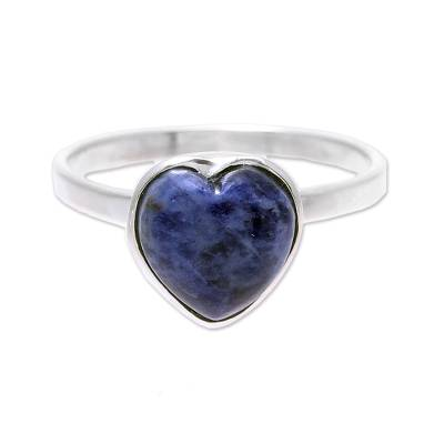 Heart-Shaped Sodalite Cocktail Ring from India