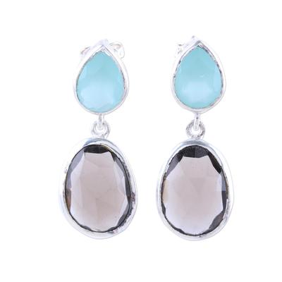 Smoky quartz and chalcedony dangle earrings, 'Dip Into Dusk' - Smoky Quartz and Chalcedony Sterling Silver Dangle Earrings