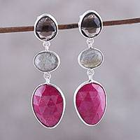 Multi-gemstone dangle earrings, 'Sweet Chic' - Ruby and Smoky Quartz Sterling Silver Dangle Earrings