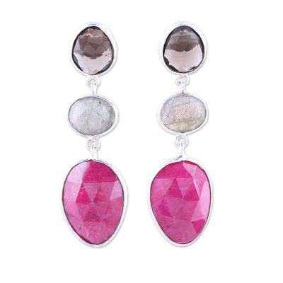 Multi-gemstone dangle earrings, 'Sweet Chic' - Ruby and Smoky Quartz Sterling Silver Dangle Earrings