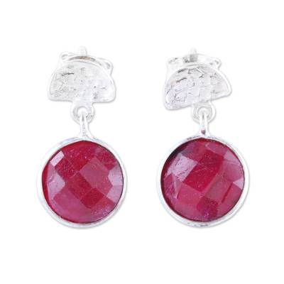 Faceted Ruby and Sterling Silver Dangle Earrings from India