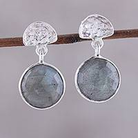 Labradorite dangle earrings, 'Misty Twilight' - Faceted Labradorite and Sterling Silver Dangle Earrings
