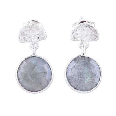 Labradorite dangle earrings, 'Misty Twilight' - Faceted Labradorite and Sterling Silver Dangle Earrings