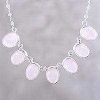 Rose quartz pendant necklace, 'Pink Petals' - Faceted Oval Rose Quartz and Labradorite Pendant Necklace