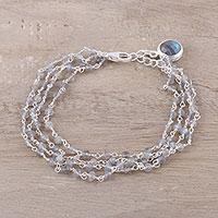 Labradorite link bracelet, 'Aurora Sparkle' - Natural Labradorite Link Bracelet from India