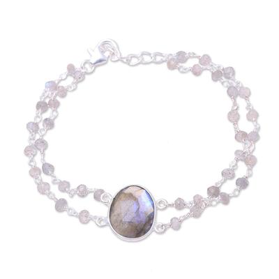 Labradorite pendant bracelet, 'Fascinating Egg' - Labradorite Link Pendant Bracelet from India