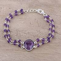 Amethyst pendant bracelet, 'Fascinating Egg' - Amethyst Link Pendant Bracelet from India