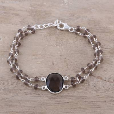 Smoky quartz pendant bracelet, 'Fascinating Egg' - Smoky Quartz Link Pendant Bracelet from India