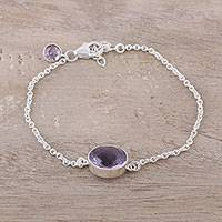 Amethyst pendant bracelet, 'Trendy Sparkle' - Faceted Amethyst Pendant Bracelet from India
