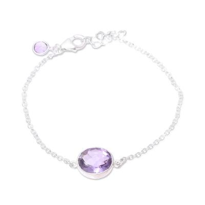 Amethyst pendant bracelet, 'Fashionable Sparkle' - Faceted Amethyst Pendant Bracelet from India