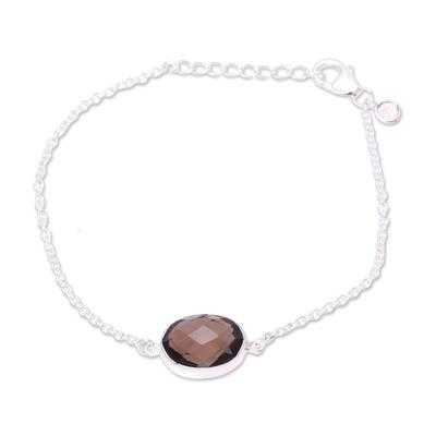 Smoky Quartz and Citrine Pendant Bracelet from India