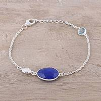 Onyx and blue topaz pendant bracelet, 'Royal Azure' - Onyx and Blue Topaz Pendant Bracelet from India