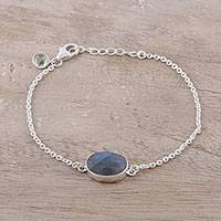 Labradorite and peridot pendant bracelet, 'Fashionable Sparkle' - Labradorite and Peridot Pendant Bracelet from India