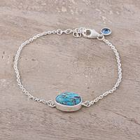 Sterling silver pendant bracelet, 'Fashionable Sparkle' - Turquoise and Blue Topaz Pendant Bracelet from India