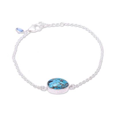 Turquoise and Blue Topaz Pendant Bracelet from India