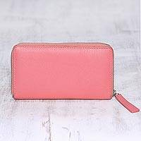 Leather wallet, 'Retro Chic' - Carnation Pink and Aqua Zippered Leather Wallet from India