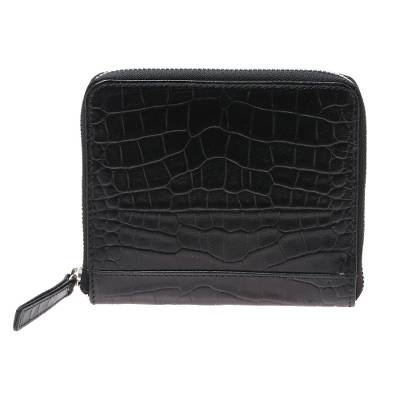 Black Leather Zippered Wallet with Crocodile Motif