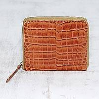 Leather wallet, 'Travel Light in Brown' - Russet Brown Leather Zippered Wallet with Crocodile Motif
