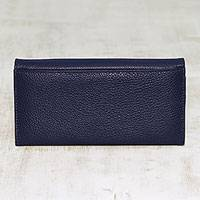 Leather wallet, 'Marvelous Midnight' - Handcrafted Midnight Blue Leather Wallet From India