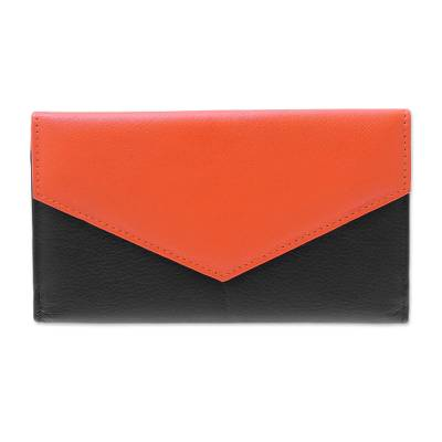 Handcrafted Black and Orange Leather Wallet from India