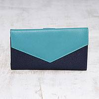 Leather wallet, 'Power Chic in Blue' - Handcrafted Navy and Aqua Leather Wallet from India