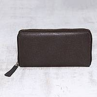 Leather wallet, 'Collected in Brown' - Handcrafted Espresso Brown Leather Wallet with Zipper