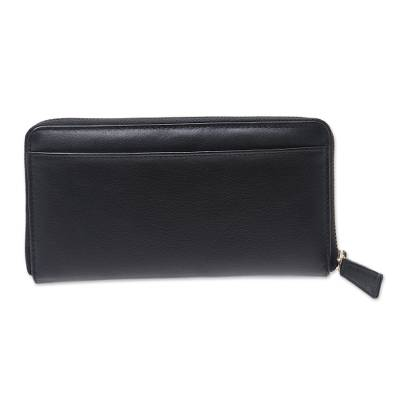 Handcrafted Black Leather Wallet with Zipper from India