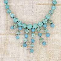 Calcite statement necklace, 'Royal Sea' - Handcrafted Blue Calcite Beaded Statement Necklace