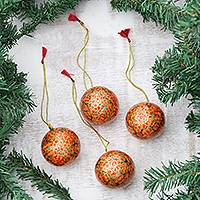 Papier mache ornaments, 'Fiery Blossoms' (set of 4) - Floral Papier Mache Ornaments in Orange (Set of 4)