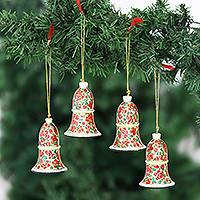 Papier mache ornaments, 'Kashmir Bells' (set of 4) - Handmade Papier Mache Bell Ornaments from India (Set of 4)