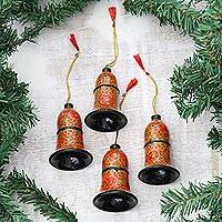 Papier mache ornaments, 'Gorgeous Blooms' (set of 4) - Hand-Painted Papier Mache Bell Ornaments (Set of 4)