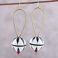 Wood dangle earrings, 'Mysterious Style' - Black and White Wood Dangle Earrings from India