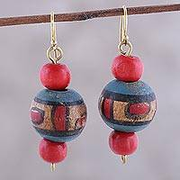 Wood dangle earrings, 'Beauty and Satisfaction' - Handcrafted Wood Dangle Earrings from India