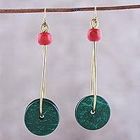 Wood dangle earrings, 'Wheels of Joy in Green' - Wheel-Shaped Wood Dangle Earrings in Green from India