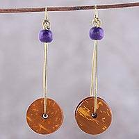 Wood dangle earrings, 'Wheels of Joy in in Orange' - Wheel-Shaped Wood Dangle Earrings in Orange from India