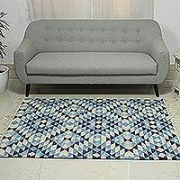Wool area rug, 'Fantastic Frets' (4x6) - Blue and Ivory Fret Diamond Motif Handwoven Wool Rug (4x6)