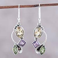Multi-gemstone dangle earrings, 'Sun with Violets' - Citrine Amethyst Peridot and Sterling Silver Dangle Earrings