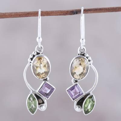 Multi-gemstone dangle earrings, Sun with Violets
