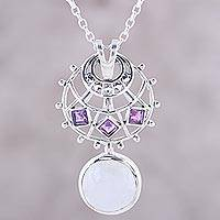 Rainbow moonstone and amethyst pendant necklace, 'Moon Warrior Princess' - Rainbow Moonstone Amethyst Sterling Silver Pendant Necklace