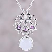 Rainbow moonstone and amethyst pendant necklace,