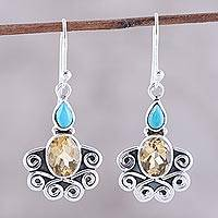 Citrine dangle earrings, 'Sun Salutations' - Citrine Oval and Sterling Silver Scrollwork Dangle Earrings
