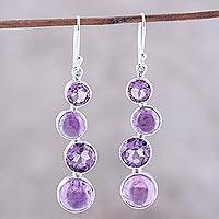 Amethyst dangle earrings, 'Purple Raindrops' - Round Faceted Amethyst and Sterling Silver Dangle Earrings
