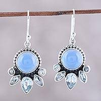 Blue topaz and chalcedony dangle earrings, 'Sky Shimmer' - Chalcedony and Blue Topaz Sterling Silver Dangle Earrings