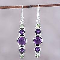Amethyst dangle earrings, 'Peaceful Fusion' - Amethyst and Peridot Sterling Silver Dangle Earrings