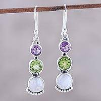 Multi-gemstone dangle earrings, 'Moonlit Aurora' - Rainbow Moonstone and Gems Sterling Silver Dangle Earrings