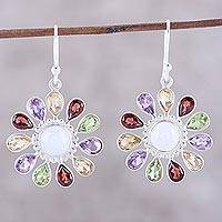 Multi-gemstone dangle earrings, 'Rainbow Rays' - Gems and Rainbow Moonstone Sterling Silver Dangle Earrings