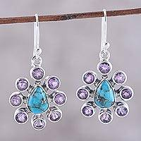 Amethyst dangle earrings, 'Peacock Reign' - Amethyst Composite Turquoise Sterling Silver Dangle Earrings
