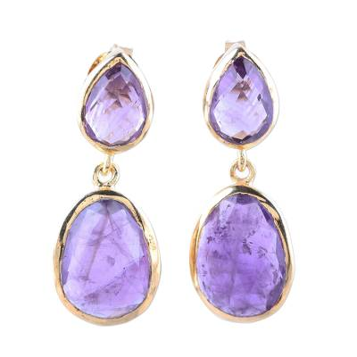Gold plated amethyst dangle earrings, 'Dip Into Lavender' - Gold Plated Amethyst Dangle Earrings from India